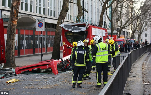 At the scene London Fire Brigade station manager Gary Squires said: 'Those involved were very lucky to escape serious injury'