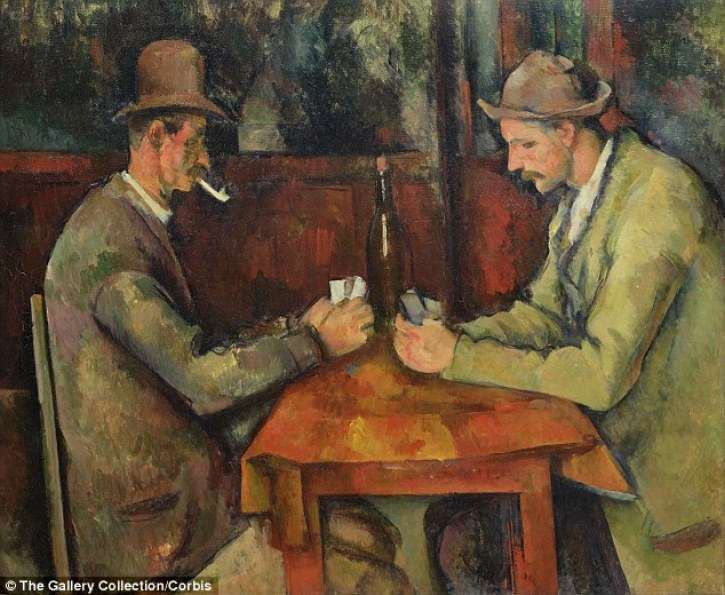 The oil-rich Gulf state previously spent £160million onPaul Cezanne's Two Card Players (pictured), which was the world's most expensive until its latest purchase