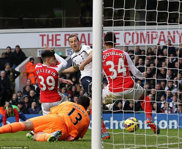Kane fires the ball past David Ospina and the Arsenal defence to draw Tottenham level at White Hart Lane