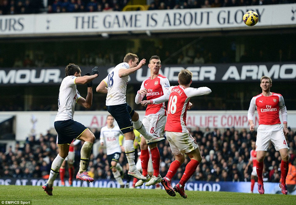 Harry Kane rises highest to head the ball expertly into the corner to give Tottenham all three points against Arsenal