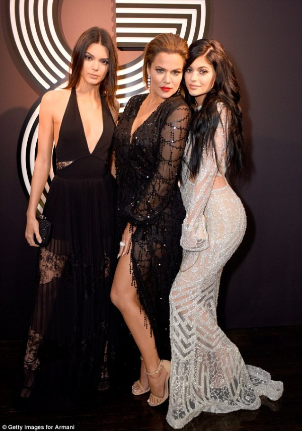 Kendall and Kylie Jenner smoulder beside Khloe Kardashian ...