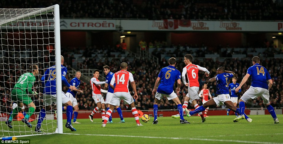 Laurent Koscielny (third from right) strikes first time from a corner to open the scoring for the Gunners