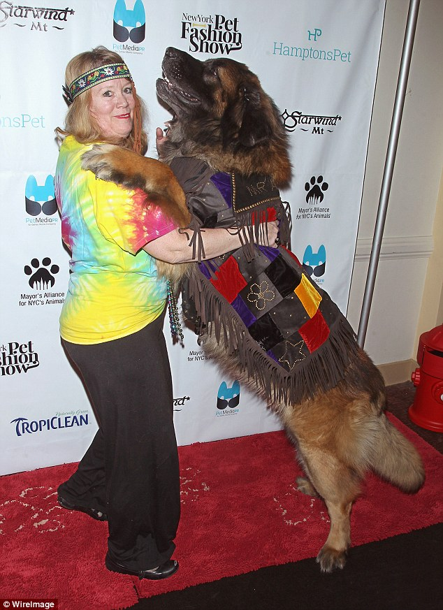 Air kisses: Mr America and his owner Morgan Avila share a moment on the red carpet