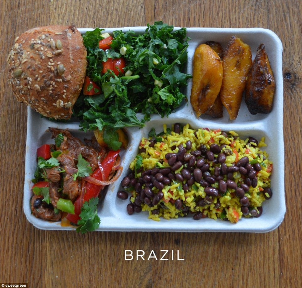 A meal of traditional flavours: Brazil's rice and black beans, baked plantain, pork with peppers and coriander, green salad and a seeded roll