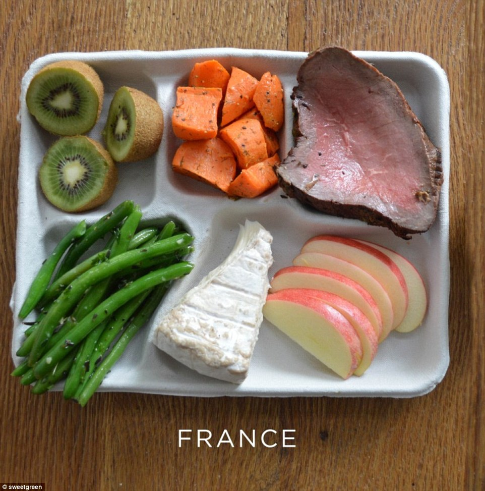Brie, green beans, carrot, rare steak and pudding of kiwi fruit and apples is served in French schools
