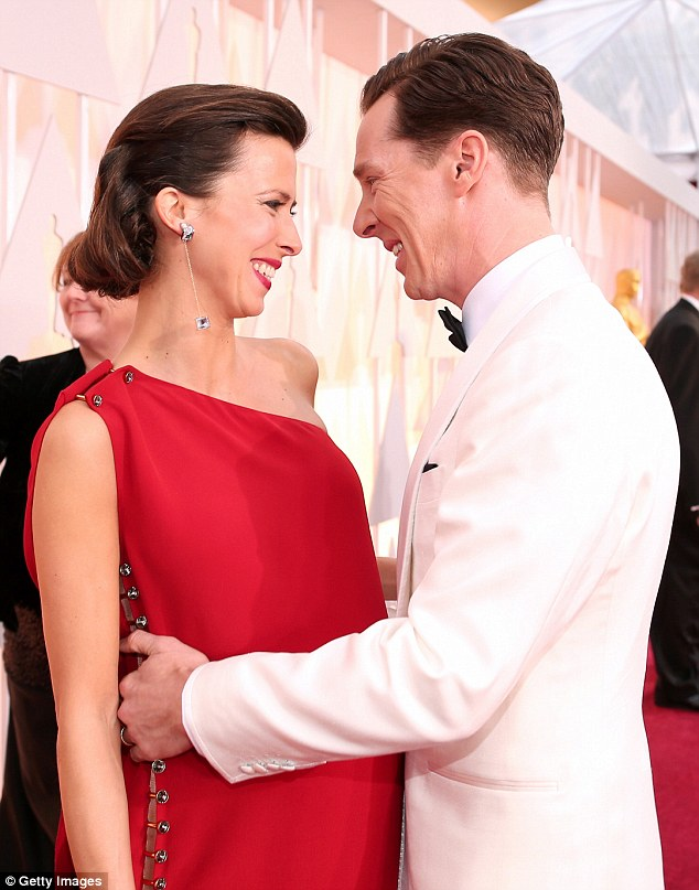 Happy couple: They shared some romantics moments on the red carpet earlier at the ceremony