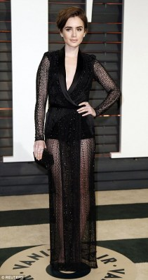 Actress Lily Collins flashed the flesh in a backless dress