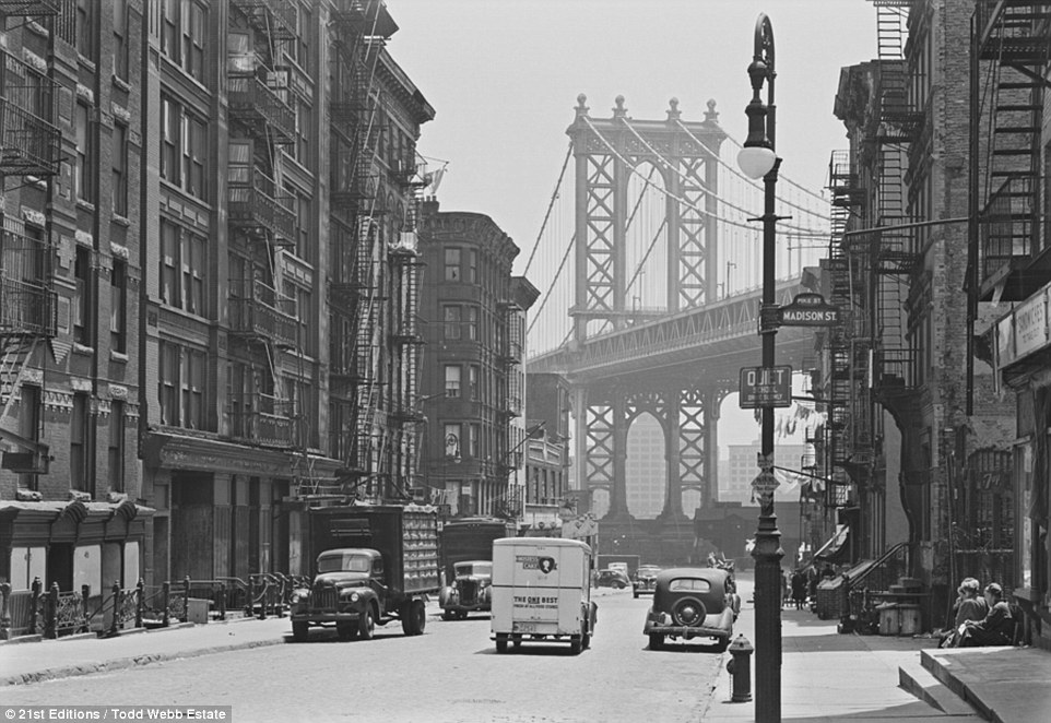 Towering: This photograph, taken at the intersection of Madison Street and Pike Street, shows the view south towards the Manhattan Bridge