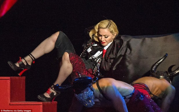 She fell over: Madonna still had a look of composure when she knew she was heading for the bottom of the steps