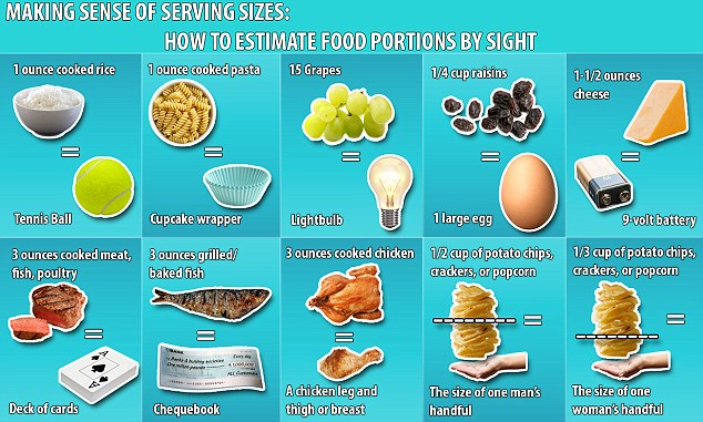 FEMAIL's new food portions graphic, which shows you how much you should be eating of certain foods