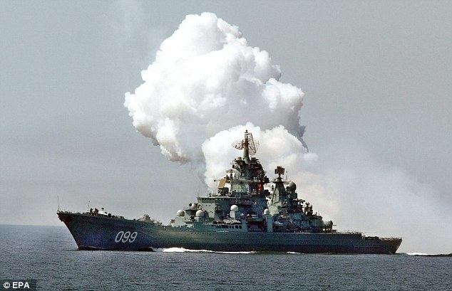 Heavily armed: A 2003 picture of Russia's nuclear-powered cruiser Peter the Great, which could soon be sailing in the Mediterranean from new bases in Cyprus after the deal was sealed with Russia