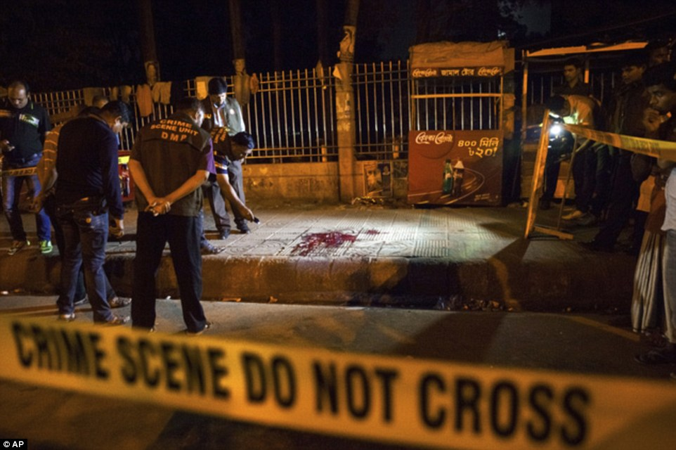 Murder: The body of Avijit Roy was found in a pool of blood after being attacked by a clever wielding gang in Dhaka, Bangladesh on Thursday night