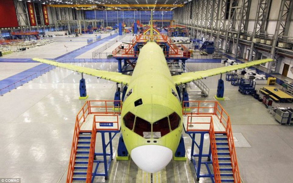 Developed: The single-aisle twin-engine jetliner has been designed to go head-to-head with Boeing's 737 and Airbus A320 in the lucrative aviation market