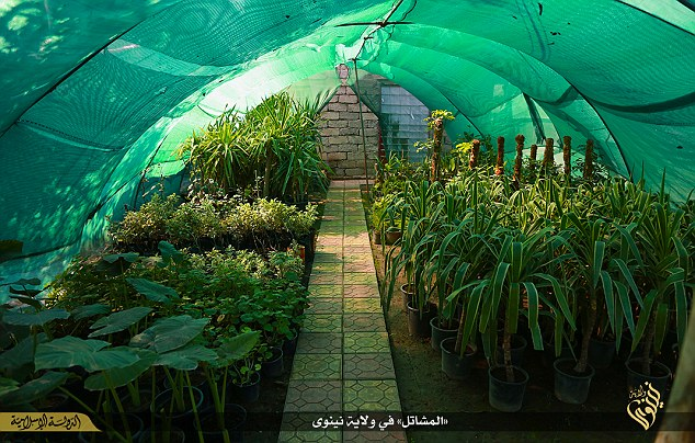 Constructed out of green fabric and held together by a bamboo structure, the greenhouse is filled with a selection of garden plants and neatly trimmed trees.