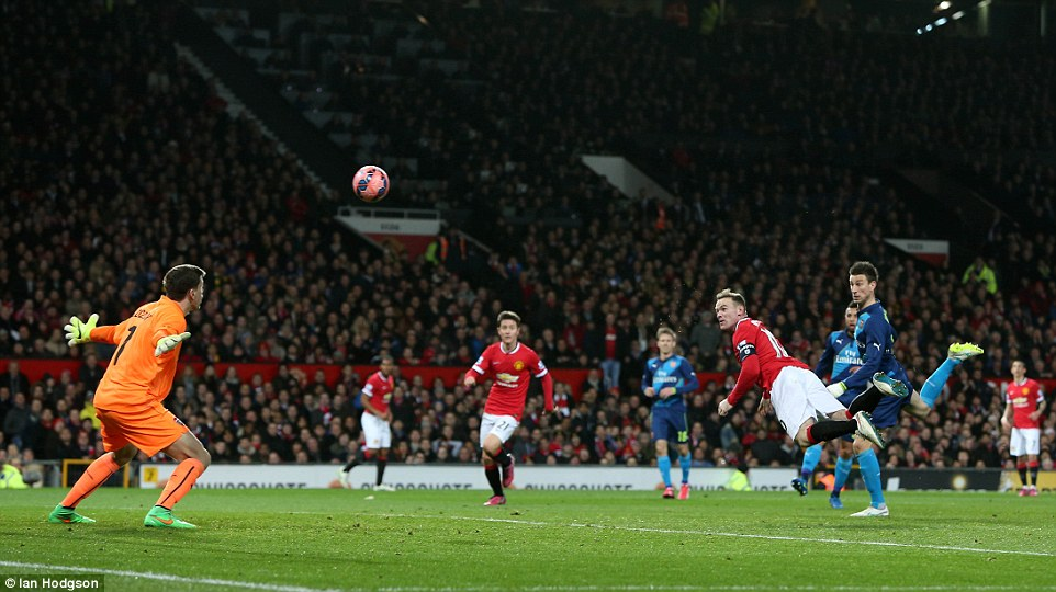Arsenal goalkeeper Szczesny, who replaced David Ospina, was unable to keep out Rooney's diving header