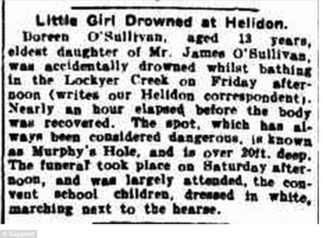 Photo was taken at Murphy's Hole which is the same location 13-year-old Doreen O'Sullivan drowned in 1915