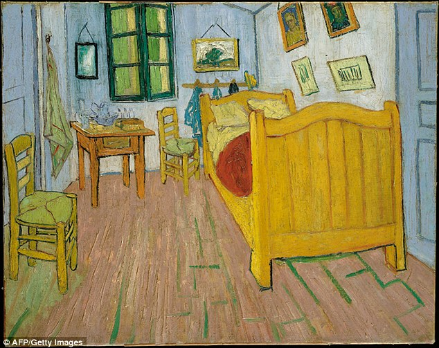 Descriptions by Van Gogh of the colour of his lodgings that he painted in The Bedroom show that the floor and walls actually contained more red pigment, giving them more vivid shades than they have today