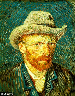 Van Gogh, shown in the self portrait above, used vivid red colours in many of his paintings