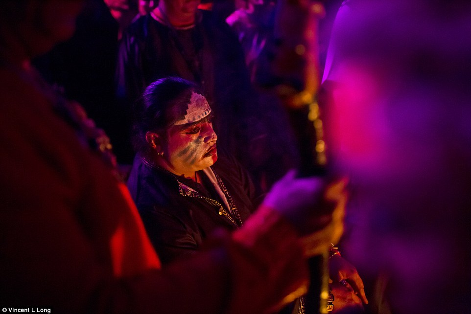 Tradition:A total of eight satanic priests had come from across Mexico to conduct the ceremony below a full moon