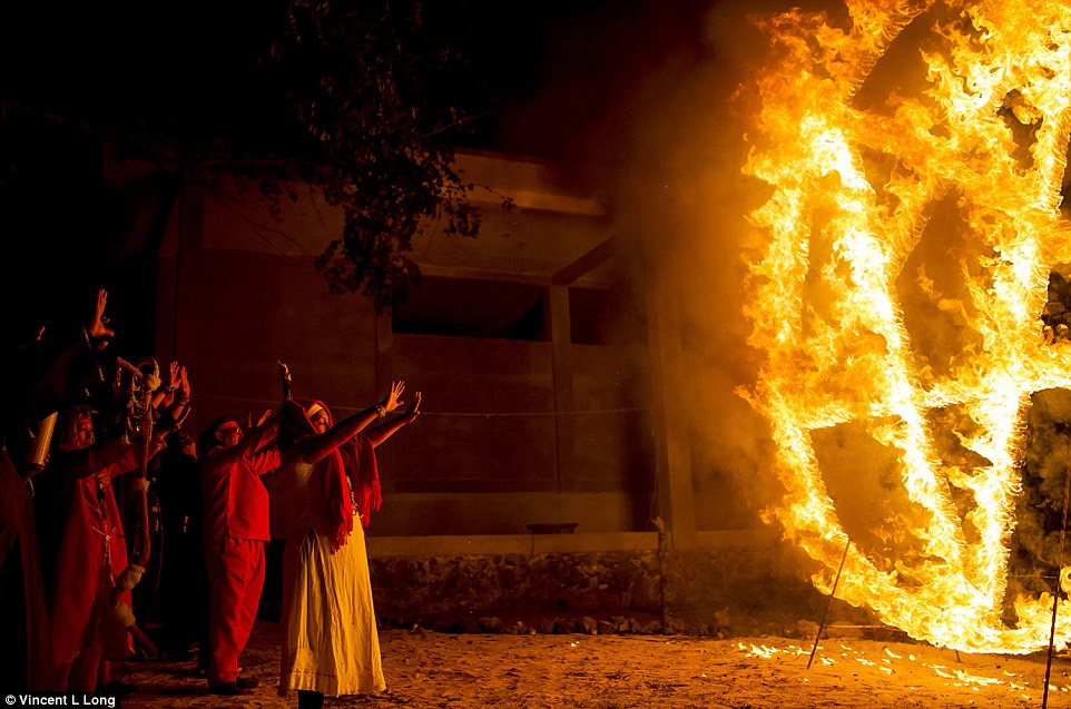 Summon: Following the sacrifices, the shamans stood before a large burning pentagram and attempted to summon the devil through their chants