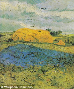 The red leaves on the pond in Van Gogh's Wheat Stacks Under a Cloudy Sky have faded to white