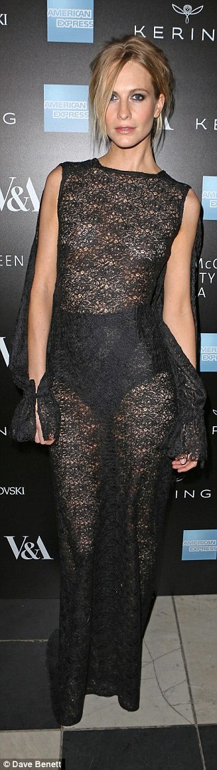 Sheer daring: Model Poppy Delevingne also went for a black sheer number which showcased her slender physique