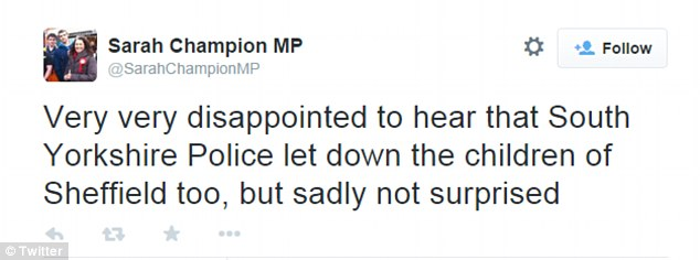 Sarah Champion, a Rotherham MP, took to Twitter this evening following the reports of Sheffield sex abuse