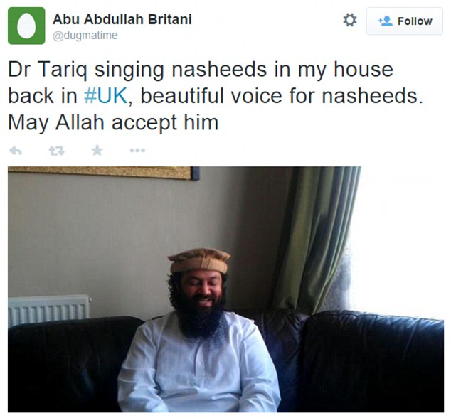 Tributes: Today, British jihadist Abu Rahin Aziz, 33, who skipped bail last year to join the Islamic State in Syria, posted pictures on Twitter