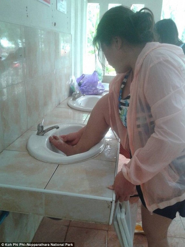A Chinese tourist was fined in Thailand for washing her feet in a public bathroom on Phi Phi Don island