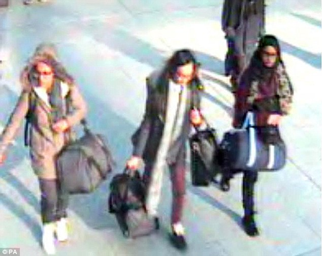Kadiza Sultana, 16, Amira Abase and Shamima Begum, both 15, fled their north London homes in February and were seen on CCTV in Turkey shortly afterwards