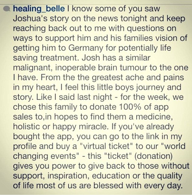 Ms Gibson wrote about how she chose a cancer patient called Joshua to 'donate 100% of app sales to'