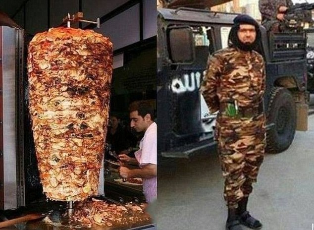 Easily confused: Islamic State commander Abu Wahib's unusually-coloured military fatigues (right) were immediately compared to a doner kebab (left) by anti-ISIS activists on social media