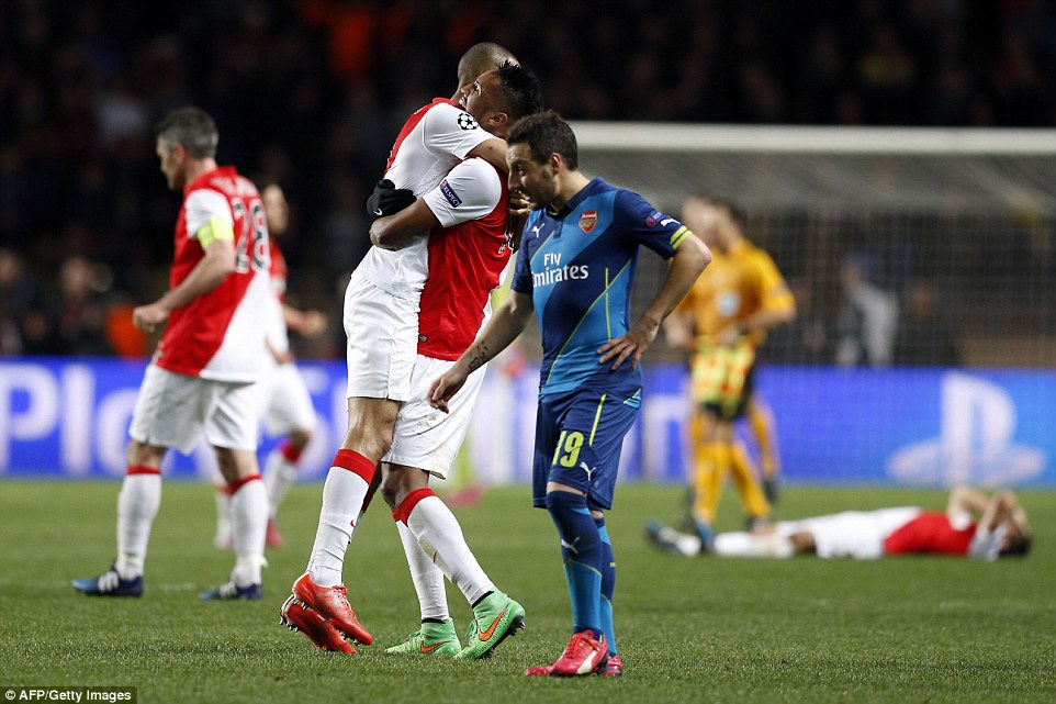 Santi Cazorla watches on as Arsenal were eliminated from the Champions League in Monaco on Tuesday