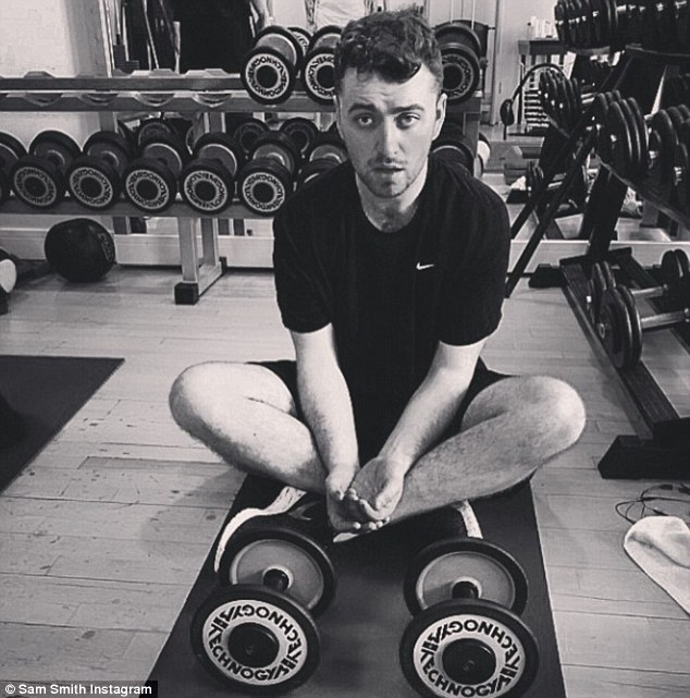 Working it: Sam Smith took to Instagram to share his delight at dropping 14lbs in 14 days with the help of a new nutrition book