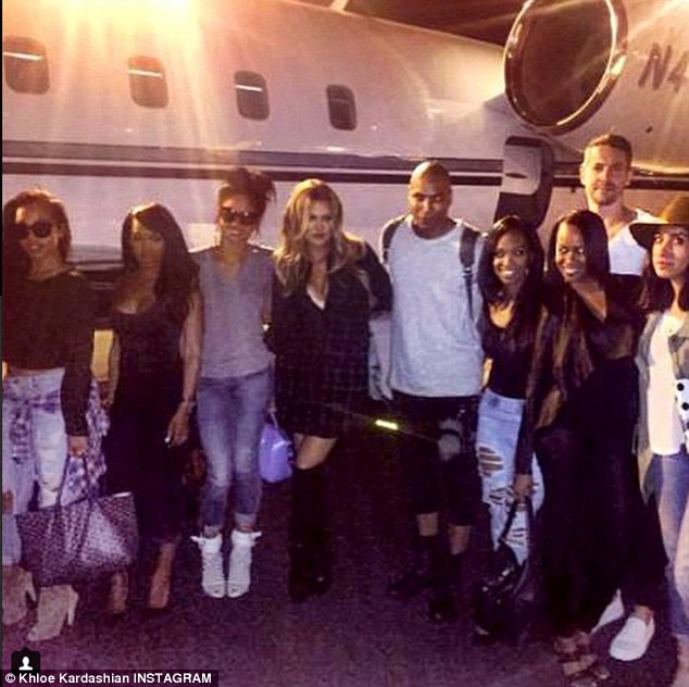 The gang: Another group shot outside her private jet said, 'Vegas watch out now!!!! The crew has landed!!! 1Oak get ready!!!!! It's about to get crazy!!! #1oak #Vegas'