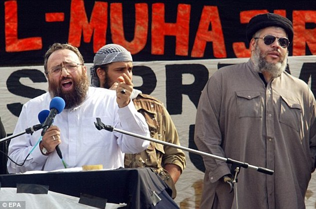 Al-Muhajiroun was set up by Omar Bakri Mohammed (left), pictured with radical cleric Abu Hamzu (right)