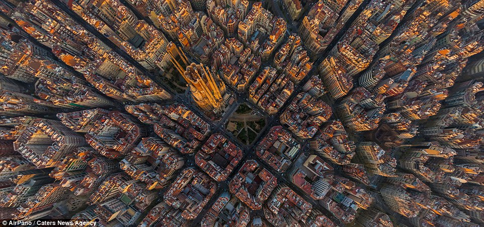 This perfectly ordered city is Barcelona in Spain - captured in the middle is the famous Sagrada Familia church