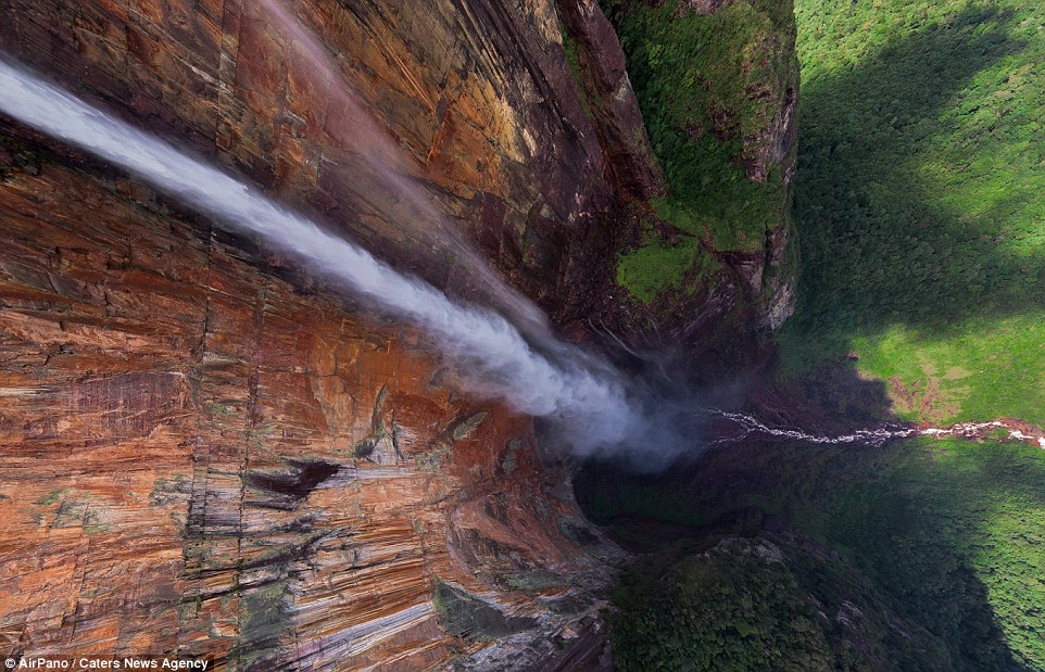 Only a photograph from above like this one can demonstrate the vast size of the Angel Falls in Venezuela
