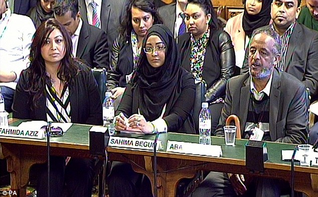 Abase Hussen, pictured far right, giving evidence to the Home Affairs Select Committee following his daughter's disappearance. The report was released this week