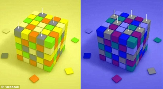 This illusion was repeated with a Rubik's Cube in which the blue tiles on a yellow background were highlighted alongside the yellow tiles on the blue background (pictured)