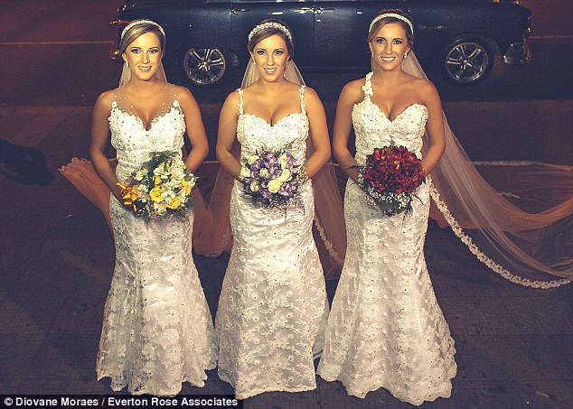 Triplets Rafaela, Rochele and Tagiane Bini share the same looks and now the same wedding anniversary after getting married on the same day