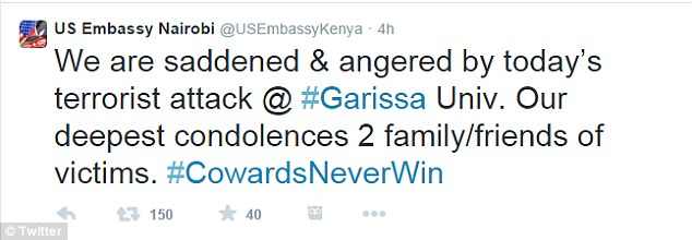 The U.S. Embassy in Nairobi expressed its condolences over this morning's massacre at Garissa University College
