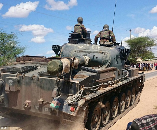 A Kenya Defence Forces tank driven outside Garissa University College. Al-Shabaab terrorists raided the campus shortly after 5am local time, overwhelming guards and killing anyone they suspected of being a Christian