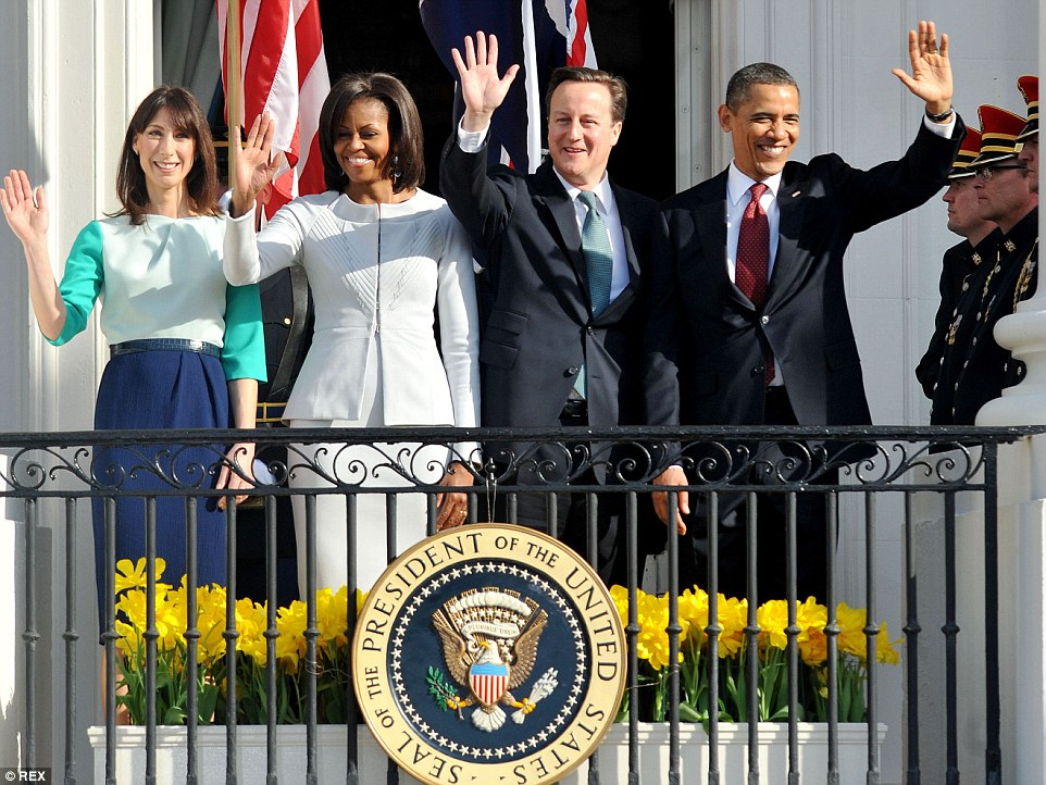 Samantha and David with the Obamas on a visit to Washington DC in 2012. She revealed President Obama called them in bed to revel Bin Laden was dead