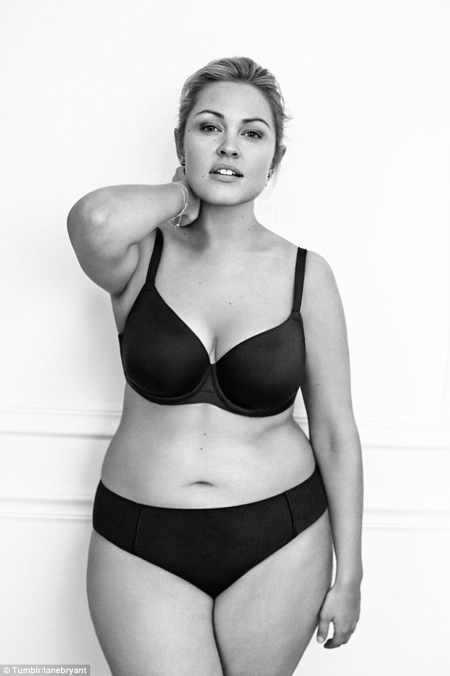 Natural beauty: Justine Legault wore her hair swept back as she posed in a black bra and underwear combination for the campaign