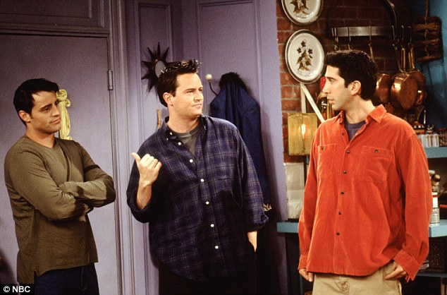 Chandler Bing, played by Matthew Perry (centre) was often annoyingly sarcastic in the hit US sitcom Friends, but his witticisms were often lost on his notoriously literal flatmate Joey, played by Matt LeBlanc (far left)