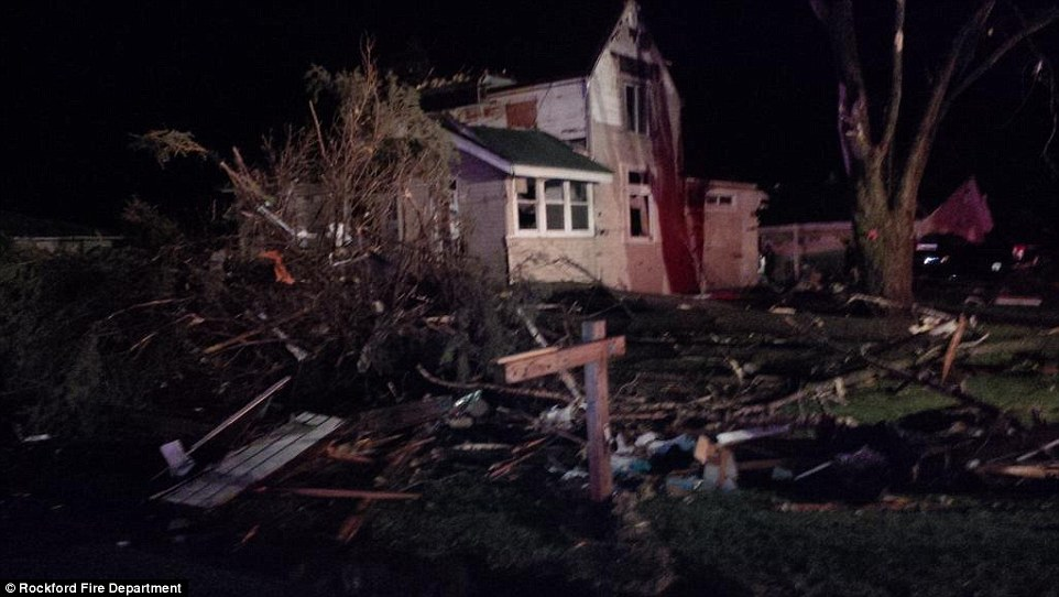 Struck: Heavy damage was observed Thursday in Rockford- Illinois' third largest city