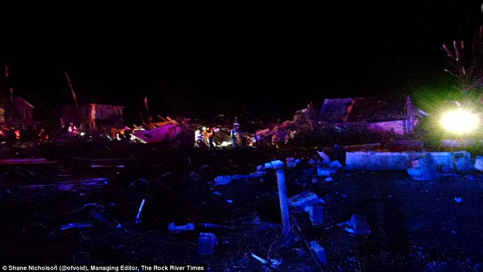 First responders in Fairdale worked in the dark last Thursday night sifting through debris