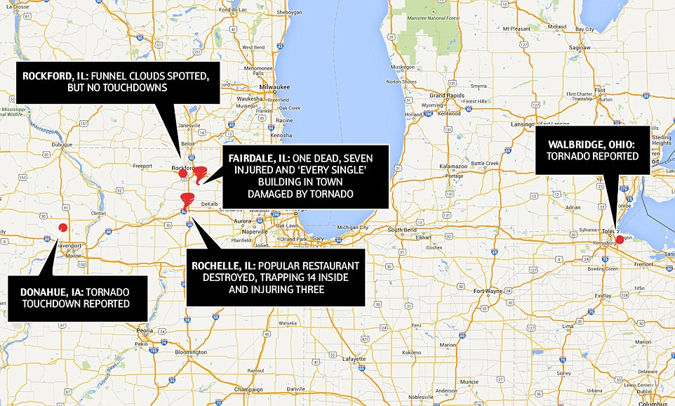 Impacted area: This map shows some of the locations in the Midwest that were affected by the tornado system