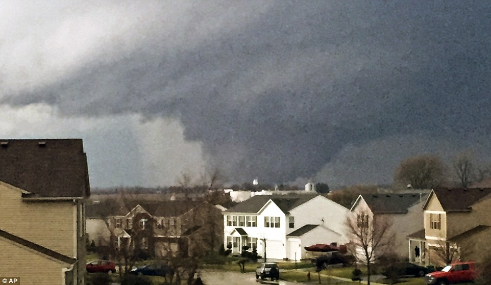 The view of the tornado near Pearl Street, from a home in the Kennedy's subdivision in Kirkland, Illinois